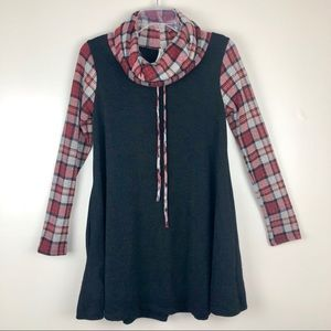 Black Crimson Red Plaid Cowlneck Sweater Tunic